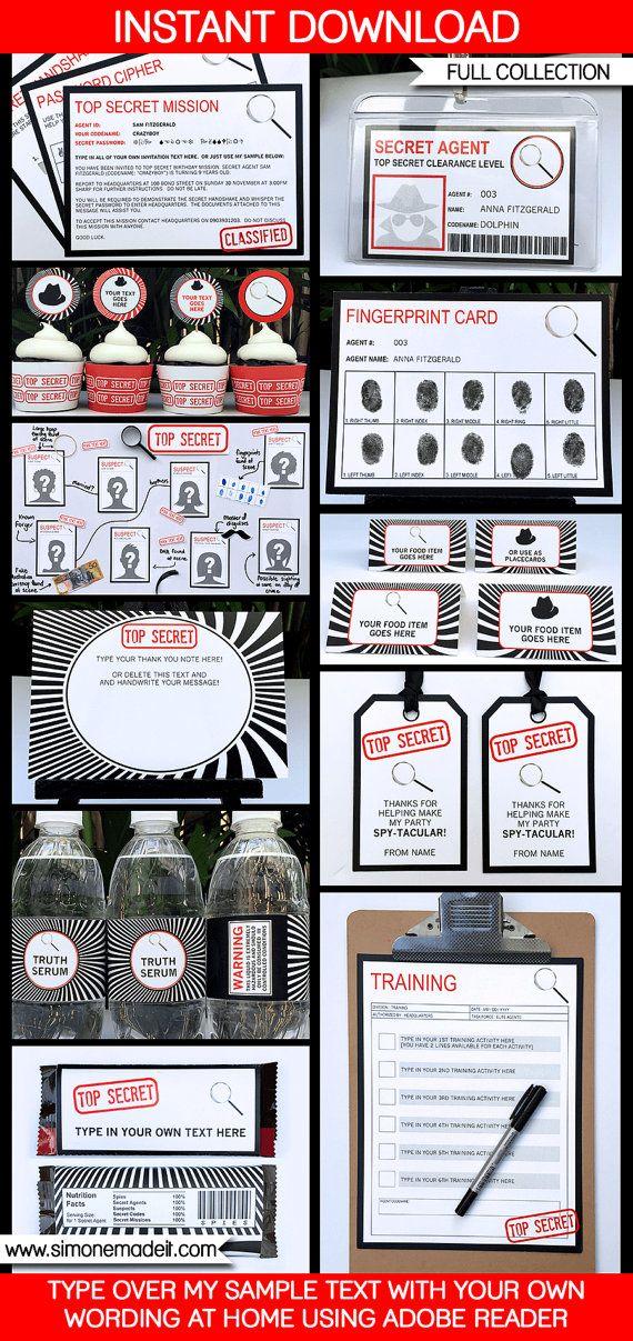 Spy Party Invitations & Decorations - Secret Agent Party - Printable…