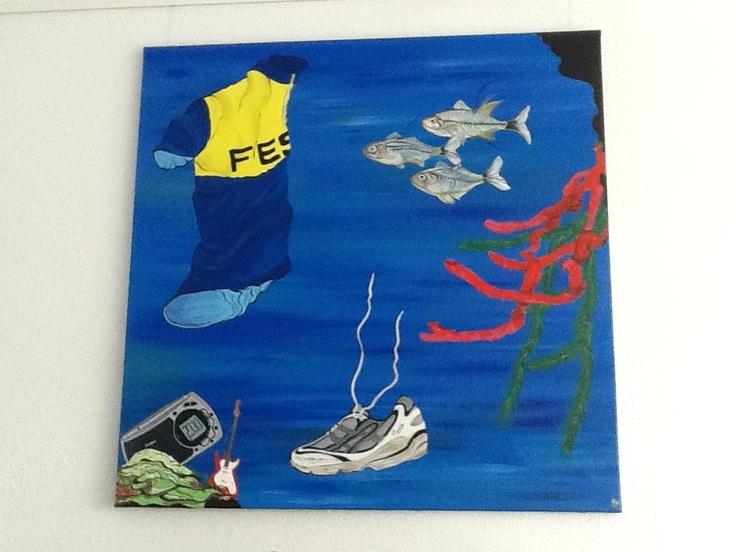 Schilderij met alle hobby's van Richard.