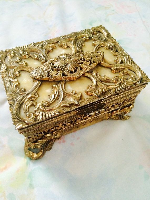 Vintage Victorian Jewelry Box Gold Metal by ShabbyVintageCouture