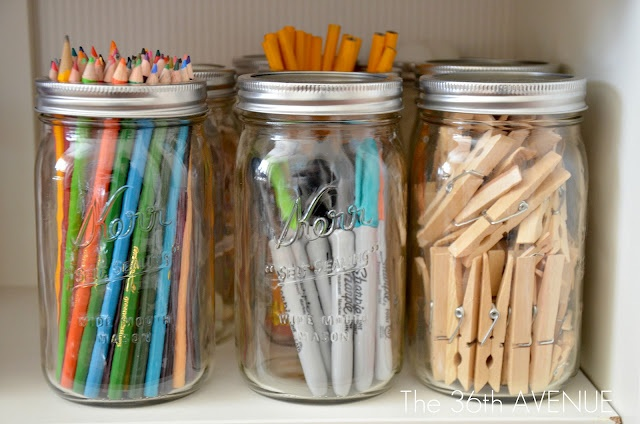 Getting organized with  mason jars
