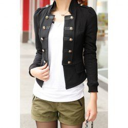 Long Sleeves Stand Collar Double-breasted Pockets Beam Waist Epaulets Ladylike Women's Coat