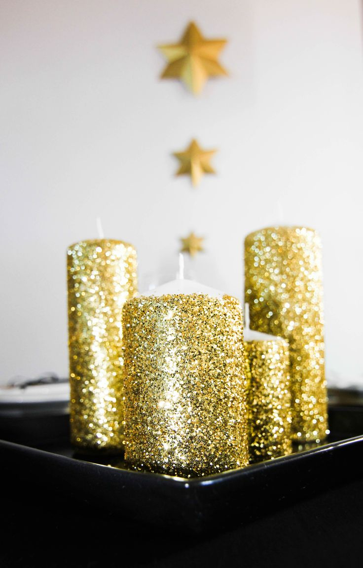 Sparkly glitter candles