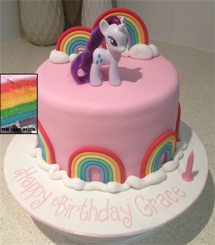 Amanda's Cakes and Invitations - Birthday Cakes- my little pony pink rainbow girls cake