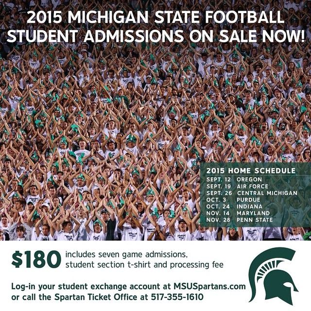 Michigan State Football student admissions for the 2015 season are now on sale at MSUSpartans.com.