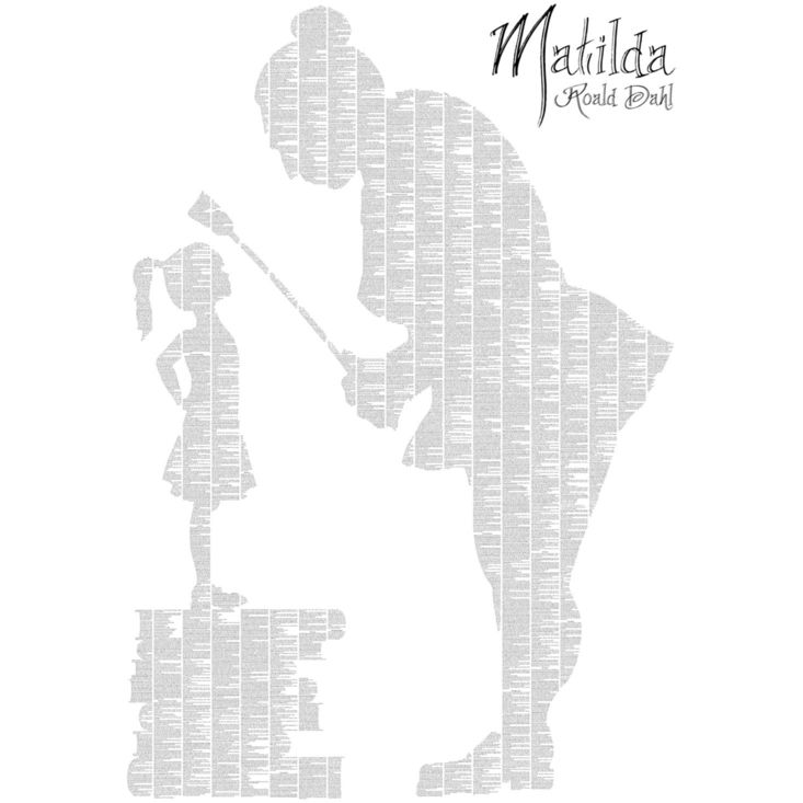 Spineless Classics print of Matilda and Miss Trunchbull, featuring all of the text from Roald Dahl's Matilda