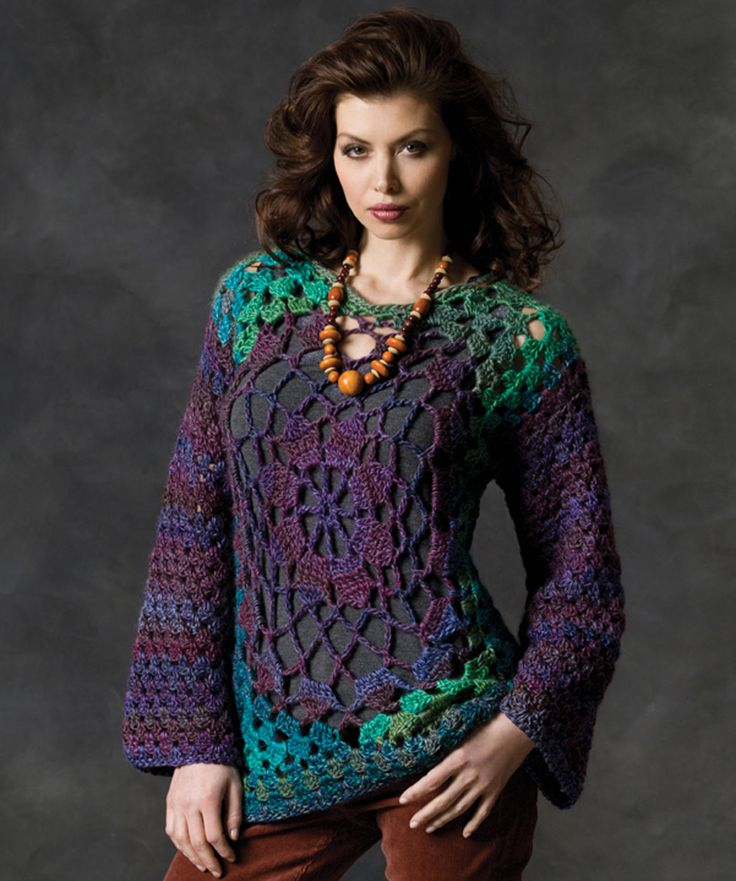 You'll love this tunic's easy style plus the fun pattern makes this pullover fun to crochet. The rich colors of this yarn make this pullover even more unique. Created in 6 sizes, it's suited for everyone!