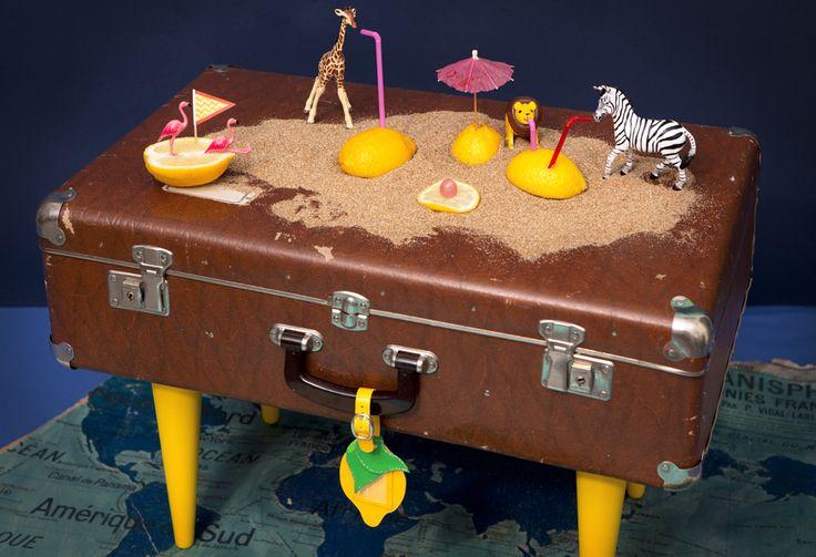 Z comme Zéro, la table-valise Tikilulu et l'île aux'zanimo, stylisme photo façon Wes Anderson, par Les Trafiquantes