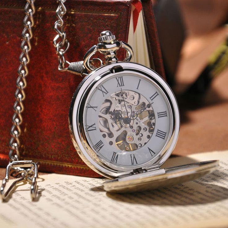 2016 новинка аналоговые мужчины часы механические карманные часы с ожерелье цепь стимпанк рука ветер карманные часы купить на AliExpress