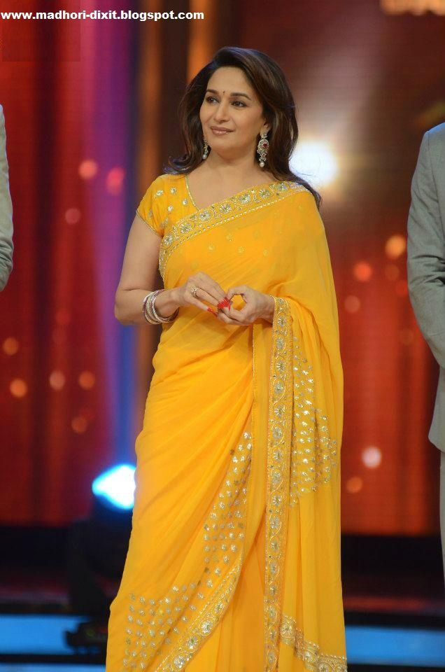 Maduri Dixit in yellow saree