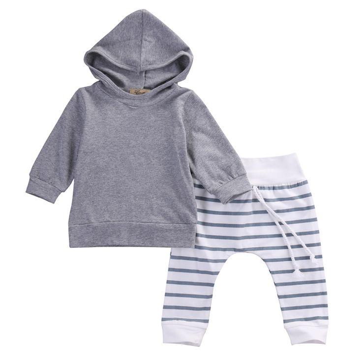 2 unids Recién Nacido Niño Niños Bebé Niño Niña de Manga Larga Cálido Abrigo Con Capucha Tops + Pants Conjuntos conjuntos
