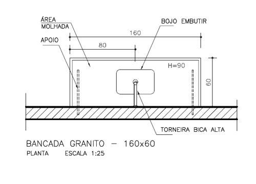Bancada de cozinha (planta) - detalhamento e medidas.