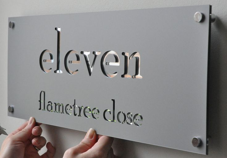 Laser Cut House Numbers Stainless Steel on Mirror backing - $75