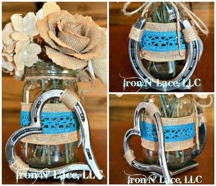 Luck N Love Horseshoe Wedding Center Piece Flower Vase