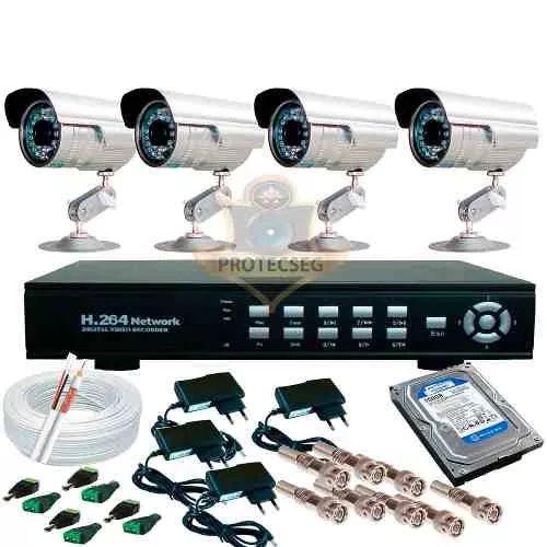 Kit Dvr 4 Câmeras Infravermelho 1/3 1800 +hd 320 Gb - R$ 599,00
