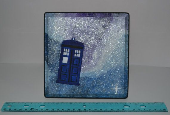Doctor Who Tardis Galaxy Hand Painted Wooden by LeftHandedGeekery, $30.00