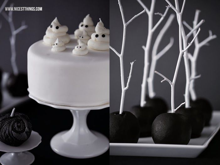 Nicest Things: Halloween Sweet Table in Black and White / Candy Caramel Apples on Sticks, Geisterkuchen