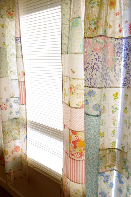 Patchwork curtains out of vintage sheets and pillow cases.  Want to make!