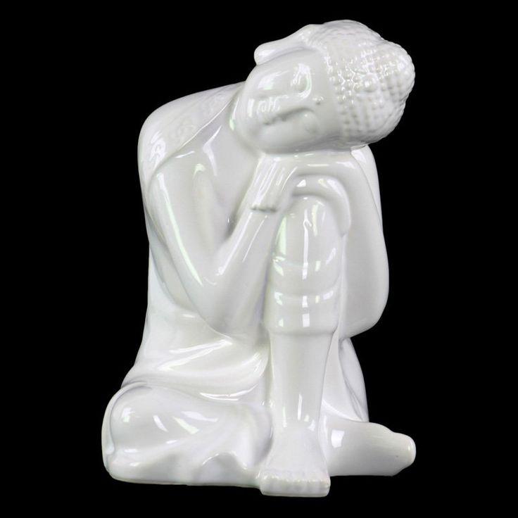 Urban Trends Ceramic Head on Left Knee Buddha Sculpture White - 35400