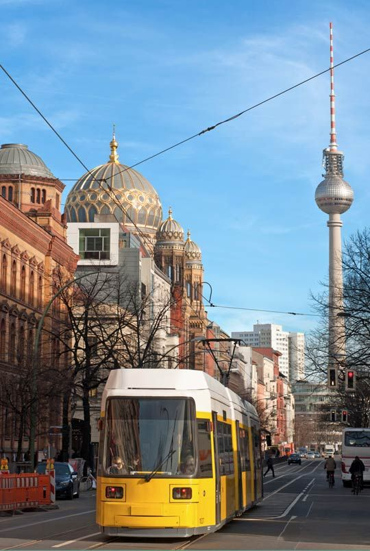 Around Oranienburgerstraße.  The dome in the background is one of Berlin's most magnificent Jewish temples.  Hop off the Straßenbahn to take a look.  One of the most historically enriching parts of Berlin!