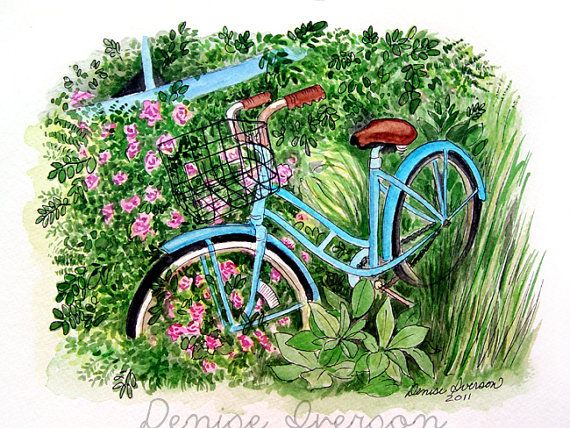 Turquoise Bike and Flowers Painting - Original Watercolor 9x12 by Denise Iverson