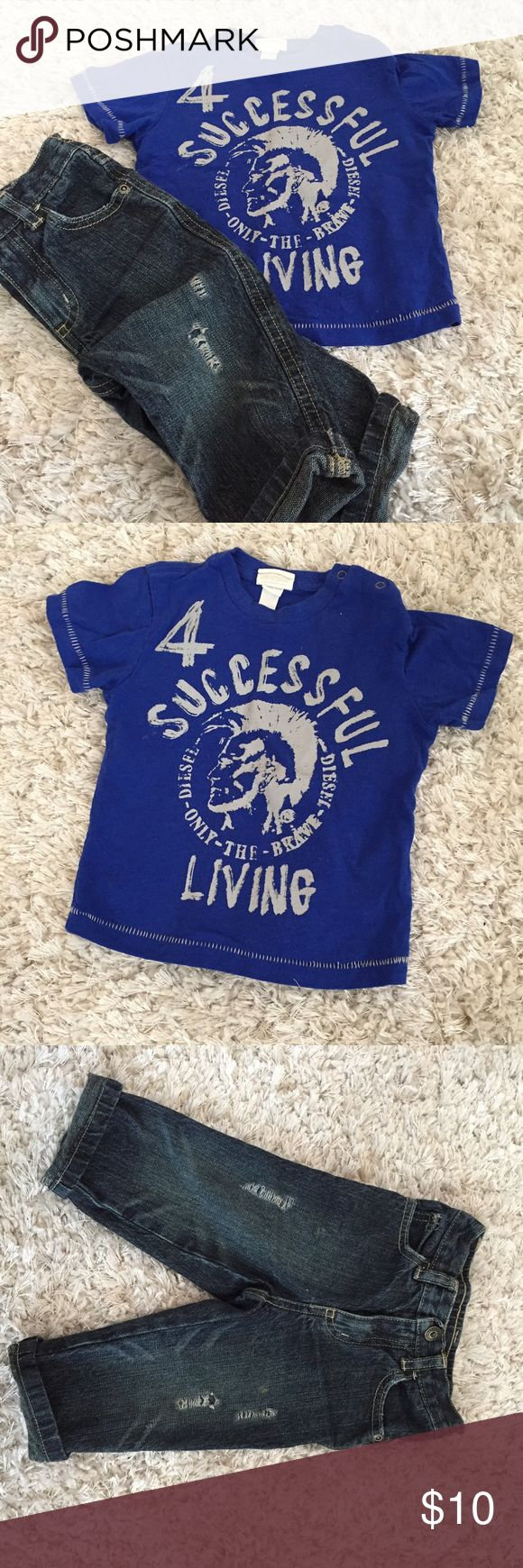 SIZE 12 MONTHS diesel t-shirt & distressed jeans Diesel T-shirts 12 months, Gymboree jeans 12-18 months, selling them as an outfit Diesel Matching Sets