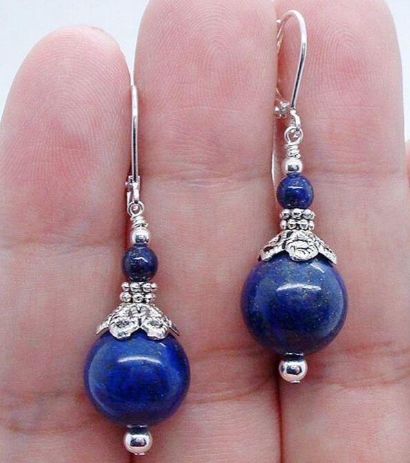Beautiful Handmade Bold Blue Lapis Lazuli Sterling Silver Earrings 6-12mm #Handmade
