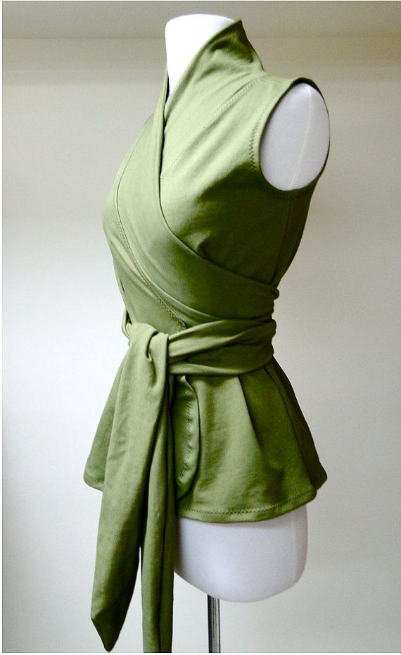 Elegant wrap shirt  organic womens clothes custom made by econica, $69.00
