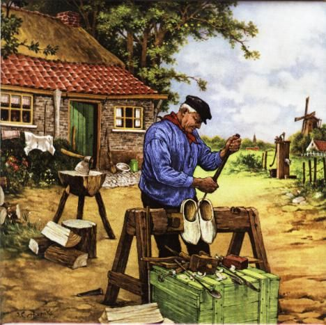 My mom has this same picture on a tile. :) Klompen Maker- Wooden shoe maker #Siepelmarkten #Ootmarsum