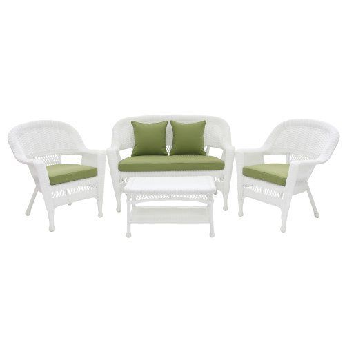 """4pc White Wicker Conversation Set - Green Cushions by Wicker Lane. $499.99. For indoor or outdoor use. Includes 3.5"""" thick cushions and 2 throw pillows. Includes 2 chairs, loveseat, and coffee table. Comes fully assembled. Made from all weather resin wicker. Steel frame for extra durability.. • 1 Settee - 51""""L x 25""""W x 36""""H, 26lbs • 1 Coffee Table - 28.5""""L x 17""""W x 17""""H, 14lbs • 2 Chairs - 29.5""""L x 26""""W x 36""""H, 17lbs Made from durable, all-weather resin ..."""