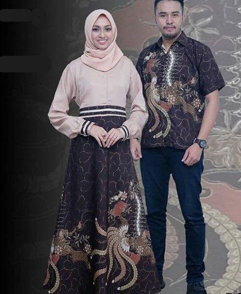 Model Baju Gamis Batik Kombinasi Kain Polos Modern Cream Hitam