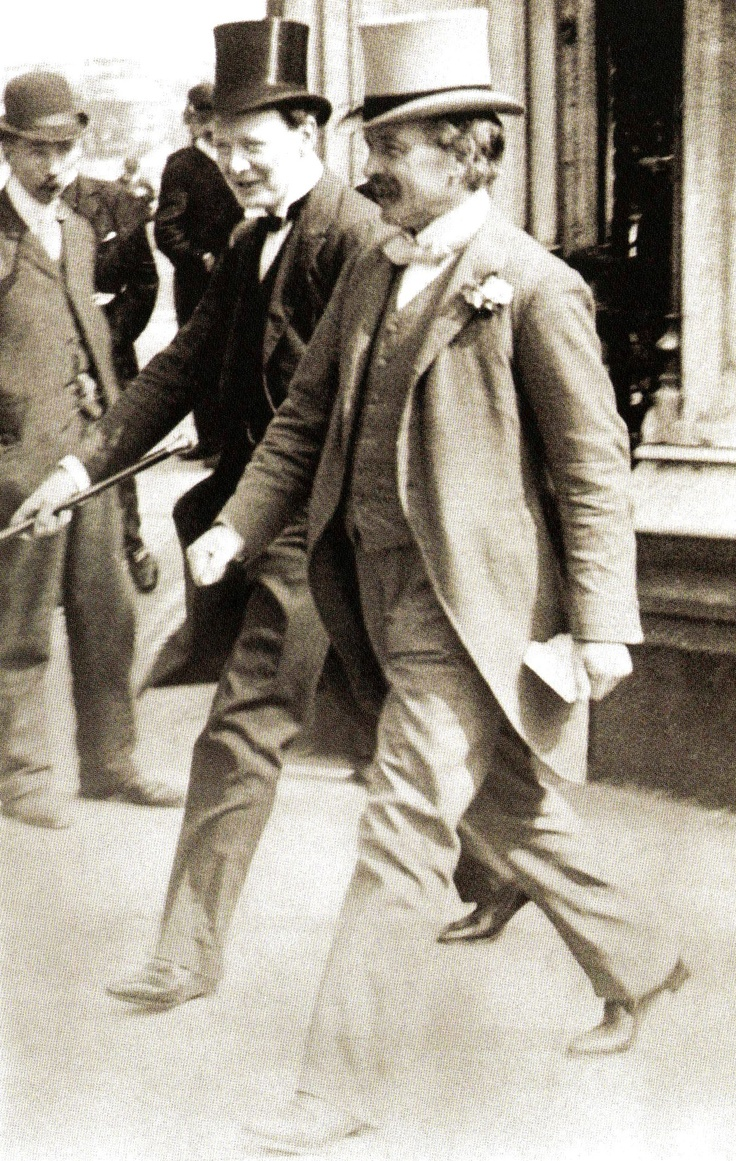 President of the Board of Trade Winston Churchill (L) with Chancellor of the Exchequer David Lloyd George (R) - London - 1909
