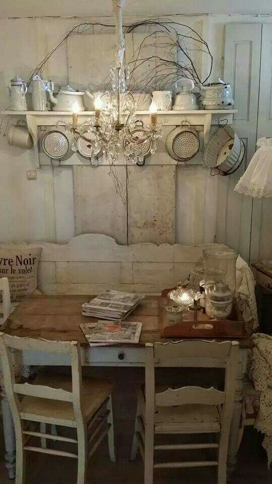 Shabby chic meets French country living. Love the walls, the table, the chair. Such a great look! #shabbychic #frenchcountry