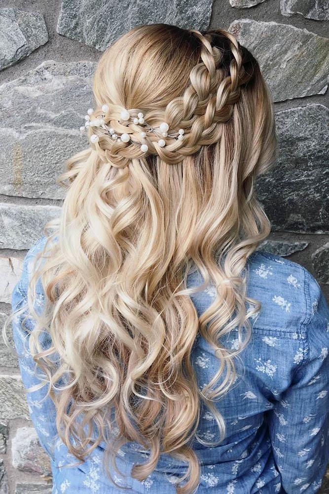 Braided Wedding Hairstyle Hair Styles Loose Curls Hairstyles Wedding Hairstyles For Long Hair