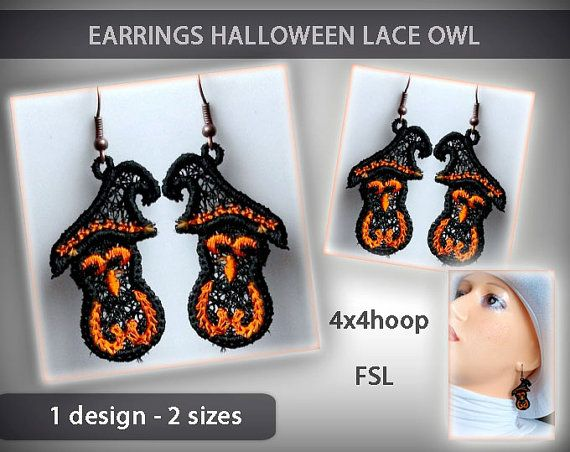 Lace owl earrings No.129 - halloween - FSL - 4x4hoop - Machine embroidery digitization./INSTANT DOWNLOAD