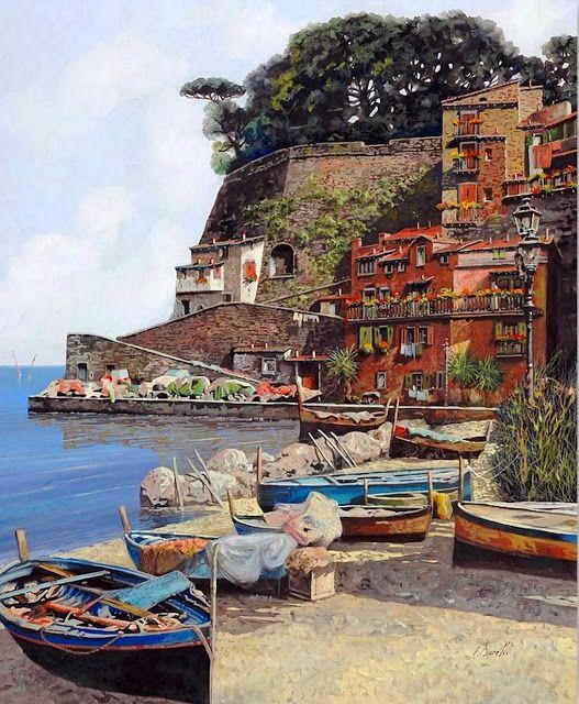 Pintor del Paisajes Europeo Guido Borelli, (taliano)
