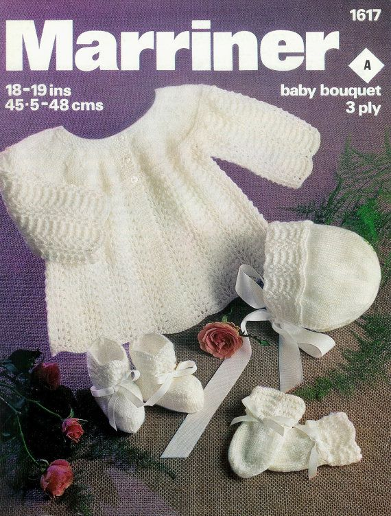 Baby Matinee Jacket Bonnet Mittens and Bootees in 3 ply for