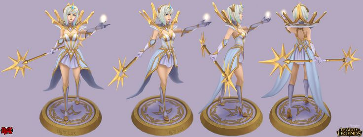 Elementalist Lux! This is Light, Lux was a massive team effort! Thanks to Oscar Monteon, Pio Ravago, & Maokai Xiao for feedback & paintovers on the model/textures! Paul Kwon for designing & aesthetics, Jean Go for the splash & in-game portraits & additional design, Christian Fell for the icons & additional design, & Justin Albers, Aleksandr Nikonov, & Charles Liu for additional design, & Jon Buran for the login borde...