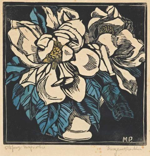 Magnolia Woodblock print, hand coloured