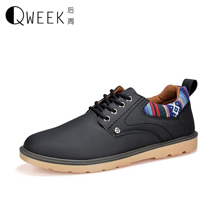 >> Click to Buy << QWEEK Men Casual Shoes PU Leather Breathable 2017 Low Flats Work Shoes for Men Trendy Lace Up Handmade Men's Flat Shoes #Affiliate