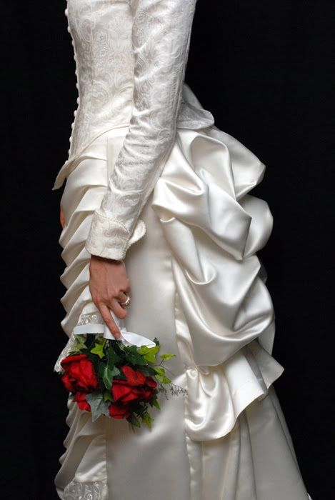 victorian bustle over the top wedding dresses