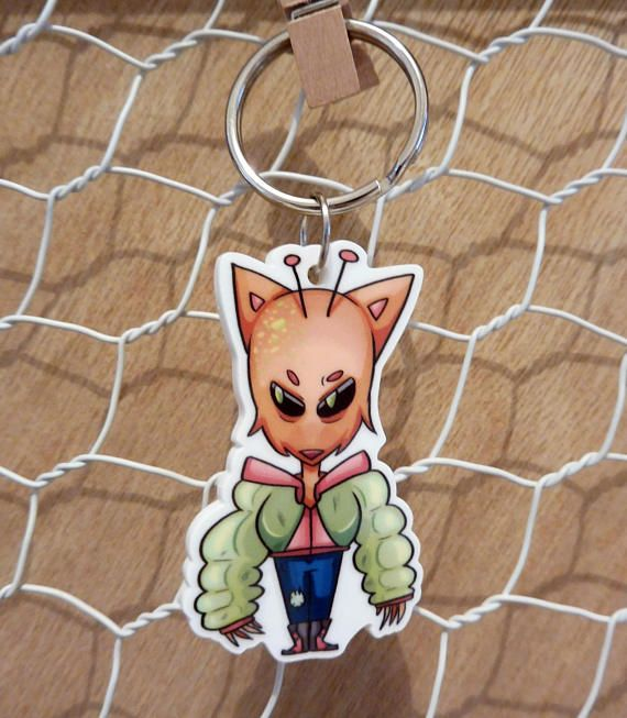 'Foxy Fiend' acrylic keychain.  Mr Antennae Fox is having a good ol' time. Won't you let him join your journey?  ---  Original design on die cut acrylic. White on back. Aprox 4.5cm x 3 cm charm