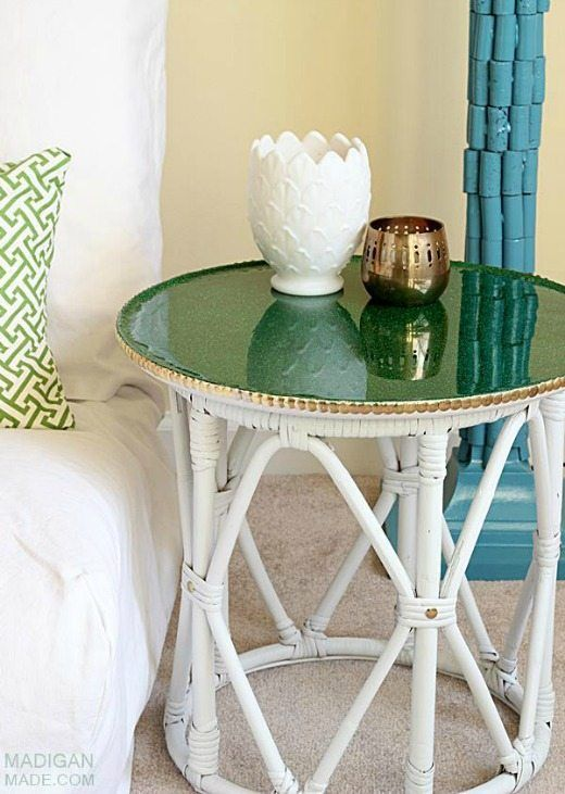 Green glitter top table - Green is a hot home decor trend right now, so check out these gorgeous furniture flips. Furniture makeovers with all shades of green paint   Green painted furniture.