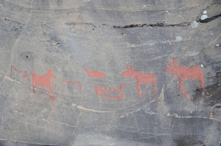 Oldest paintings near by Näsåker (Sollefteå Kommun) Västernorrland. More than 4000 years ago were these made. Photo by Karin Melk