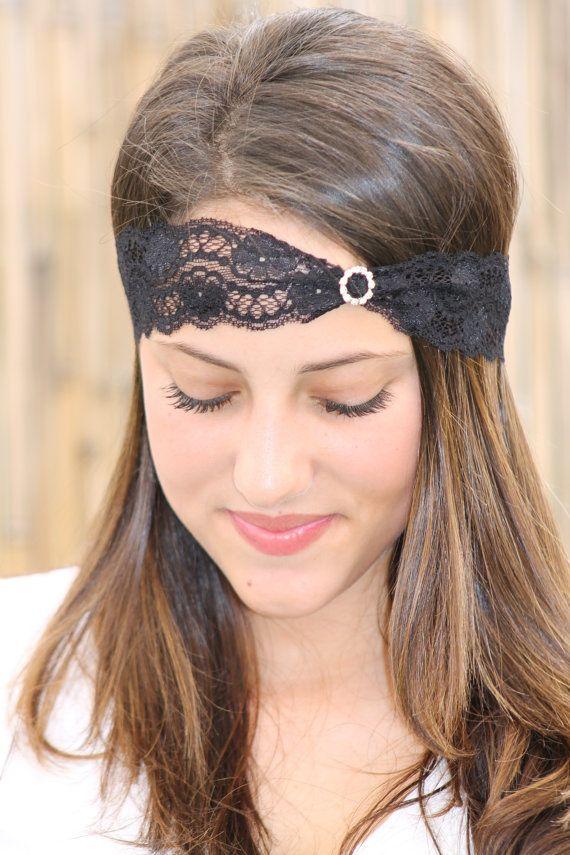 Lace Headband with Diamond like Rhinestones Black by TopStyle1, $16.00