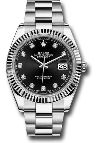 Rolex Watches - Datejust 41 Steel and White Gold - Fluted Bezel - Oyster - Style No: 126334 bkdo