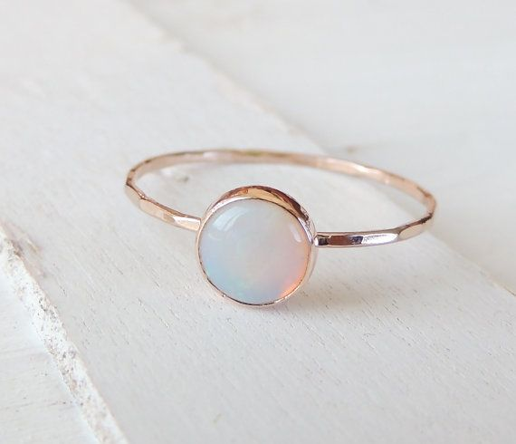 Opal Ring Rainbow Opal Ring Glowing Opal Jewelry Stack by Luxuring