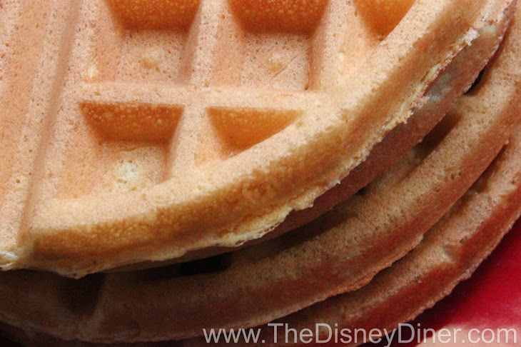 Disney World and Disneyland Waffles Recipe Breakfast and Brunch with pancake and waffle mix, sugar, water, eggs, vanilla extract, butter