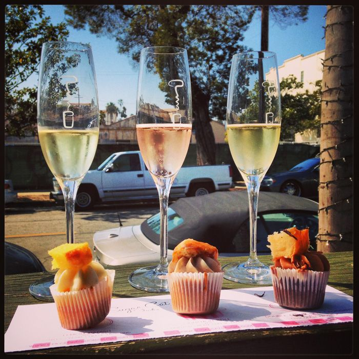 Sparkling wine paired with Sugar Cat Studio's mini cupcakes at Corks & Crowns in the Funk Zone, Santa Barbara