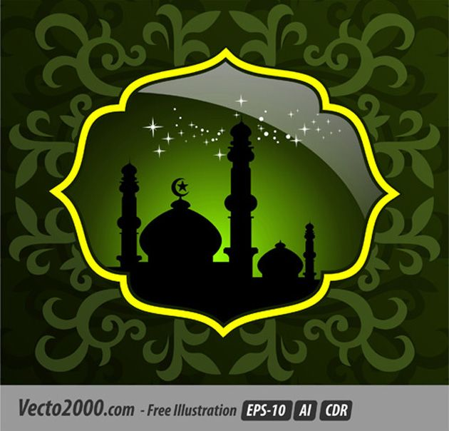Sparkling Star Mosque in Islamic Green Vector