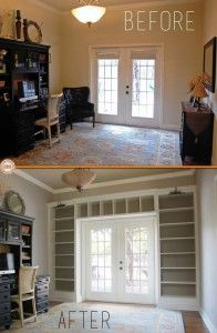 Ikea Shelves Into Built-In Bookcases- no small project but the outcome completely changes the room
